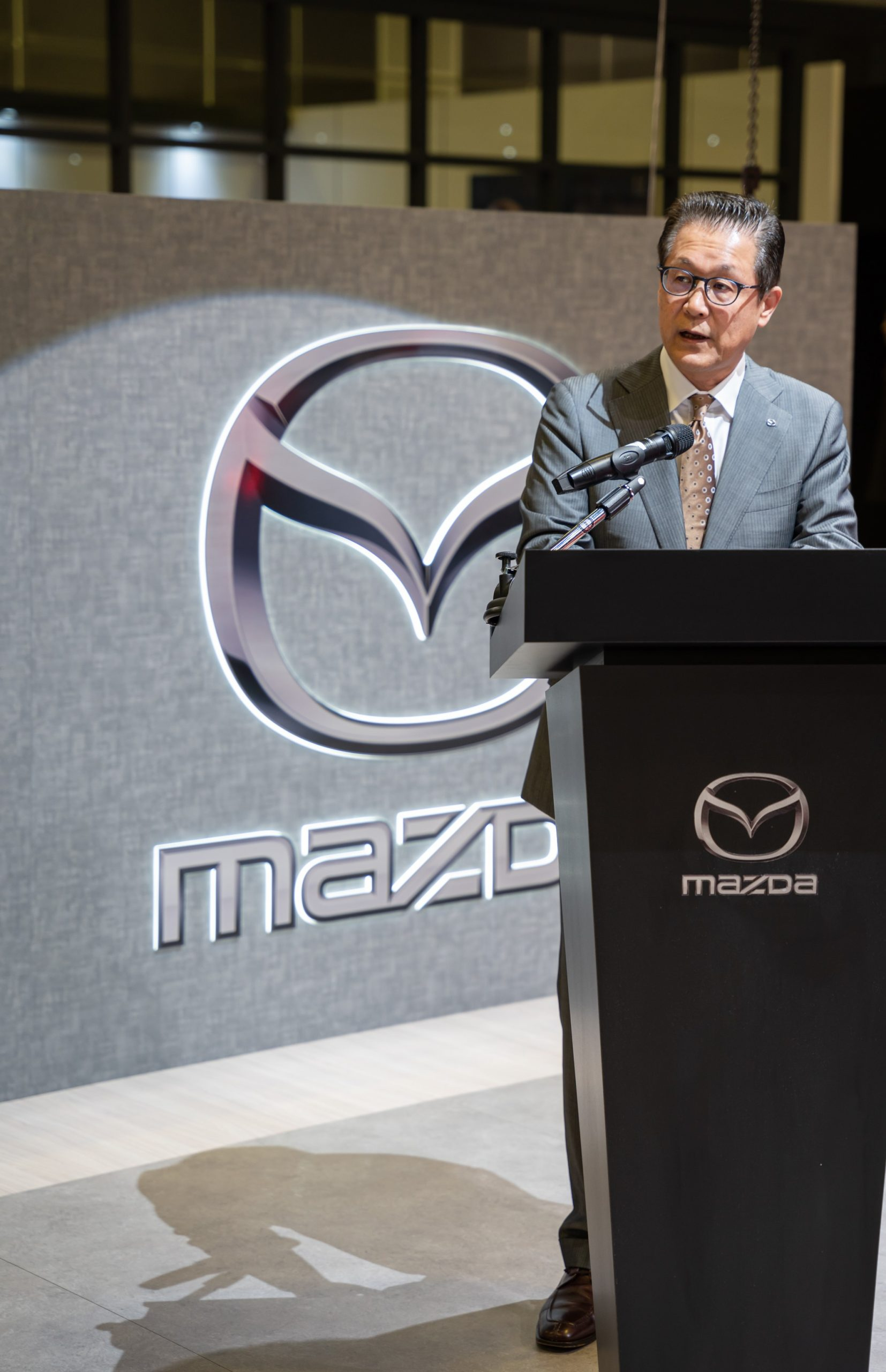 Mazda Motor Corporation General Manager ASEAN Business Office Mr Susumu Niinai delivering his speech during the unveiling of the all-new Mazda CX-30 and Mazda CX-8 at the Singapore Motorshow 2020.