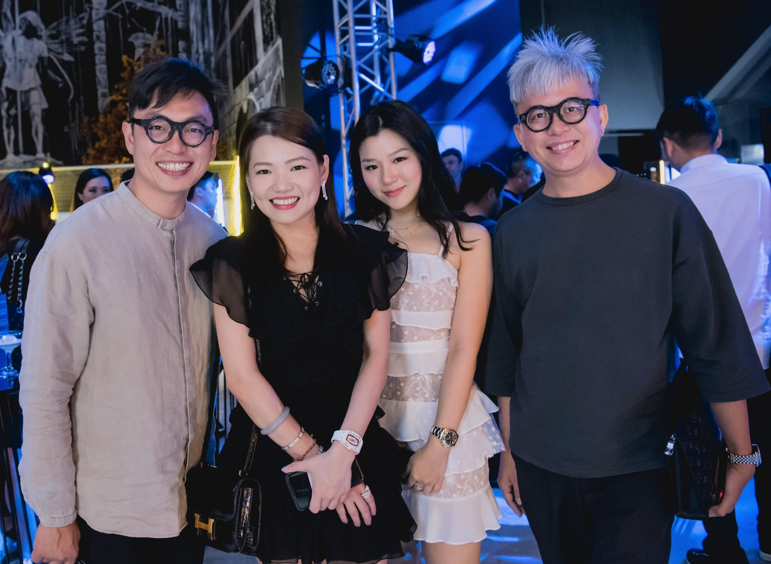 (From left to right) Rolls-Royce guests Mr Sylvester Ng, Ms Angela Ng, Ms Audrey Teo and Mr Ng King Kang