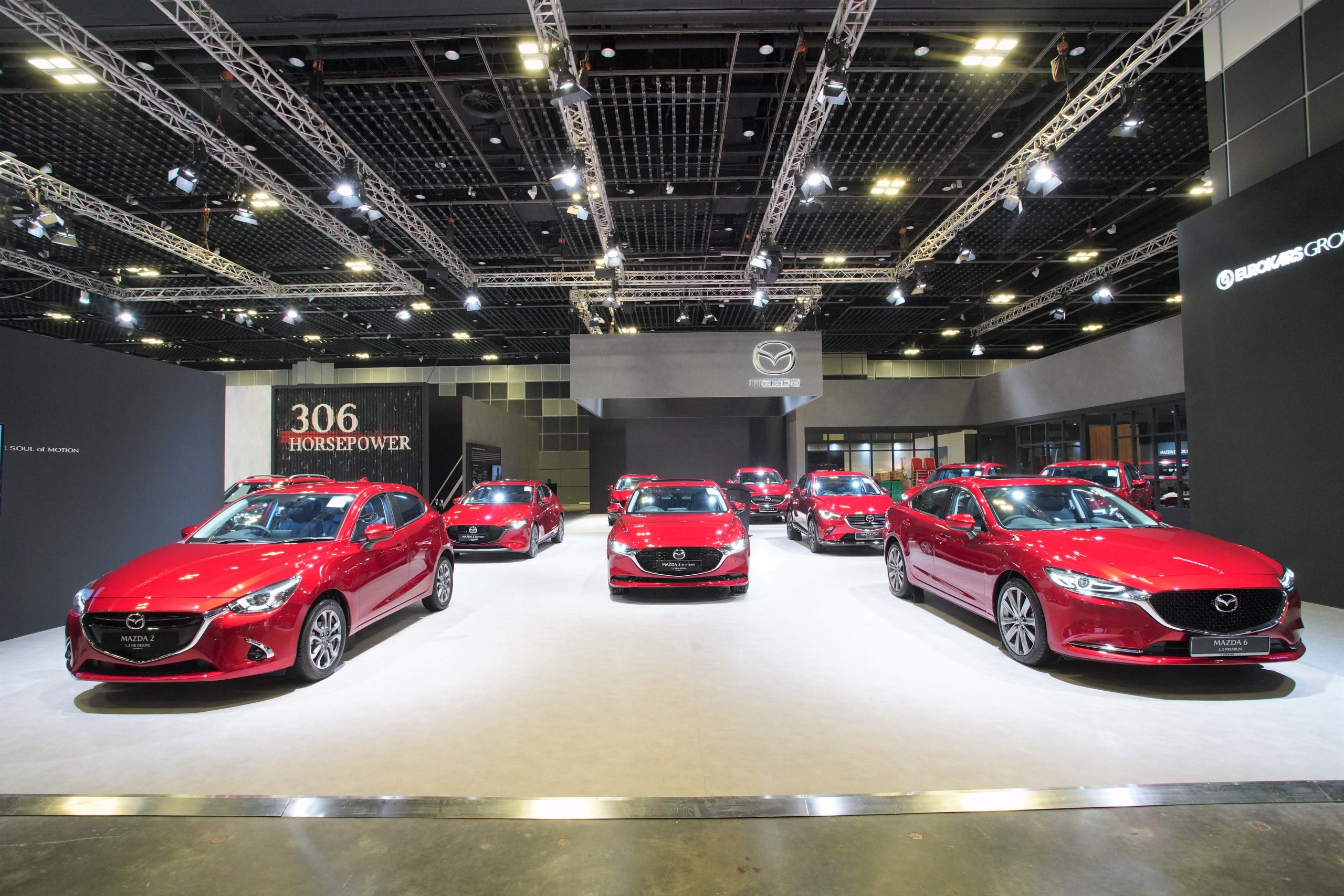 The Mazda line-up at the Singapore Motorshow 2020, which includes the all-new Mazda CX-30 and Mazda CX-8