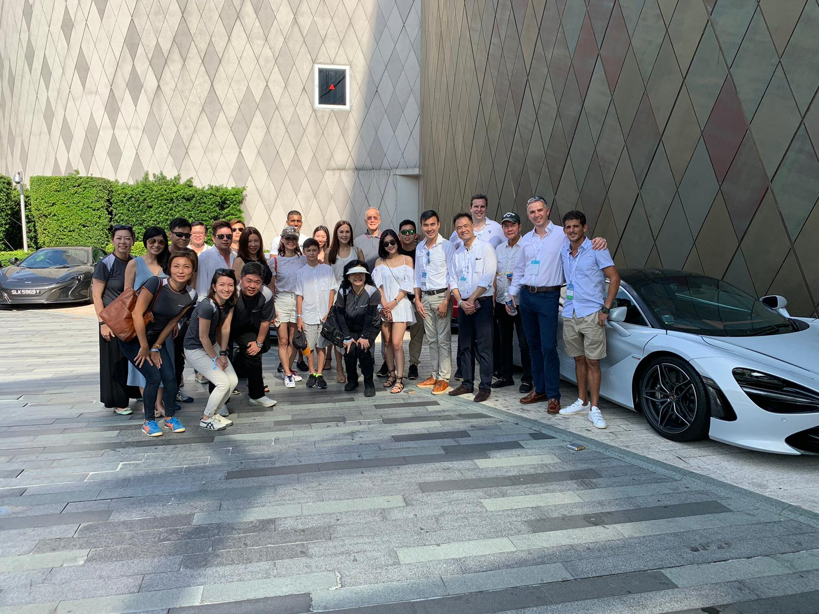 McLaren owners together with the Fairline team at the driveway of W hotel, Sentosa