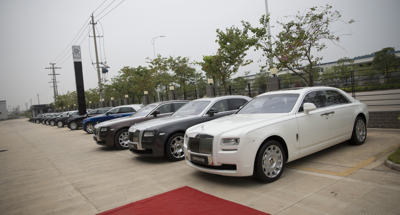 Rolls-Royce cars on display outside the Rolls-Royce Motor Cars (Nanning) showroom