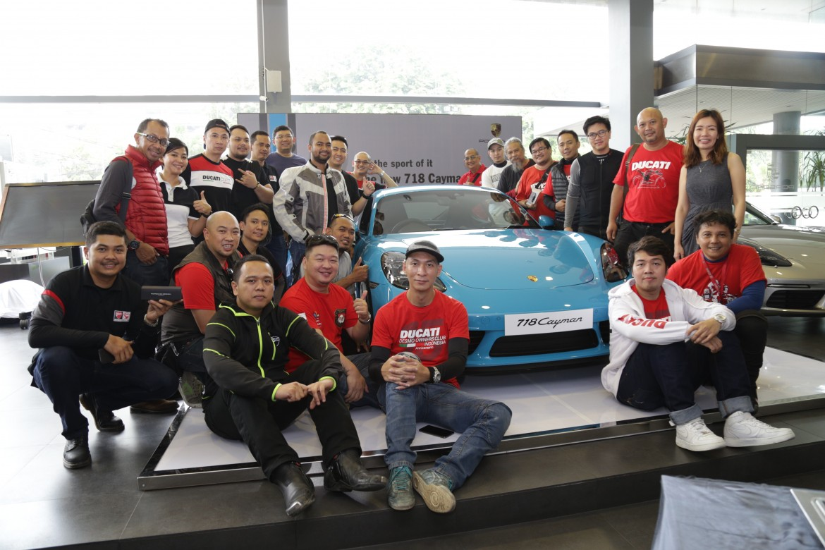 The 718 Cayman Private Preview for the Ducati owners club at Porsche Centre Jakarta