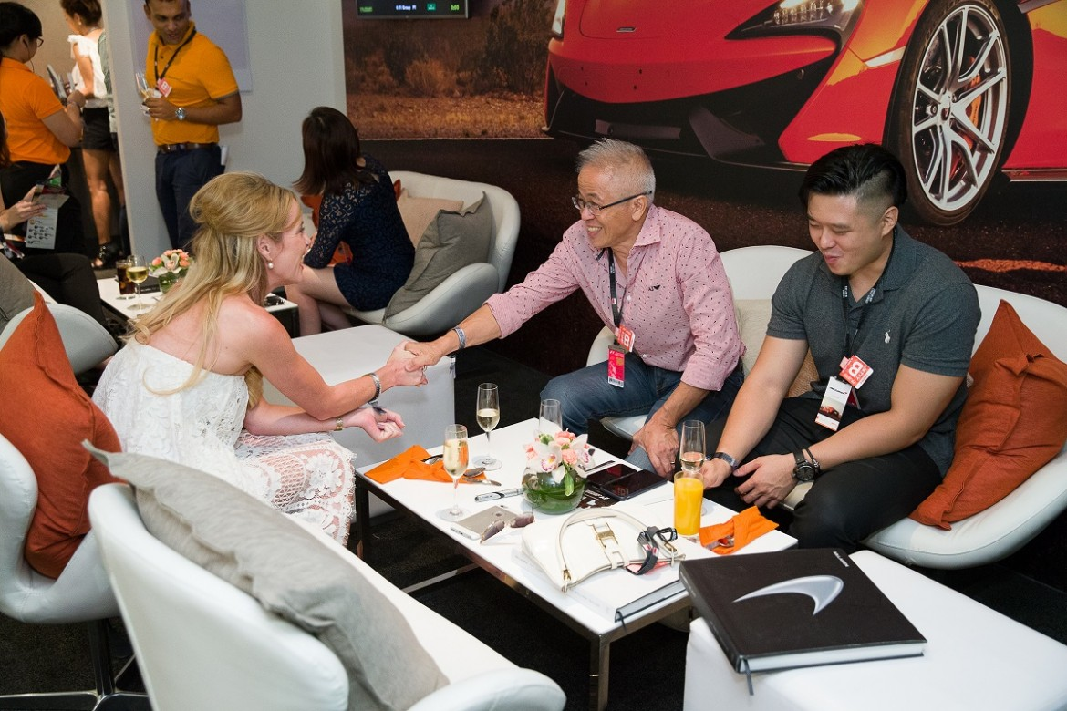 Networking and engagements in the McLaren F1 Skysuite