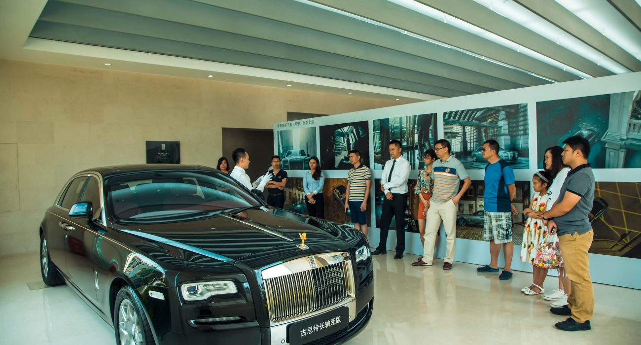 "A Rolls-Royce Ghost on display at the ""Inspired by Rolls-Royce – A Journey into Art and Creation"" art exhibition which is jointly organised by Rolls-Royce Motor Cars (Nanning) and Eunye Creative Arts."