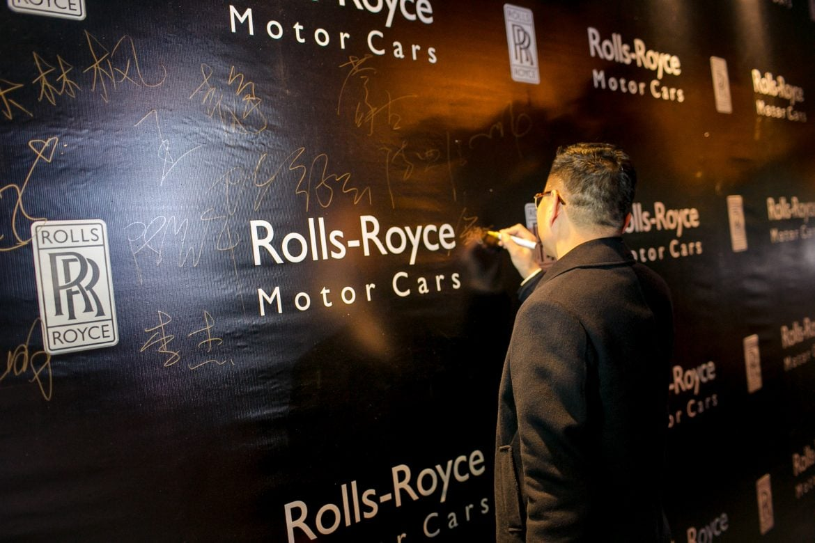 The guests were encouraged to sign on a unique wall mural guest book at the Rolls-Royce Motor Cars Nanning Annual Appreciation Cocktail Party 2017