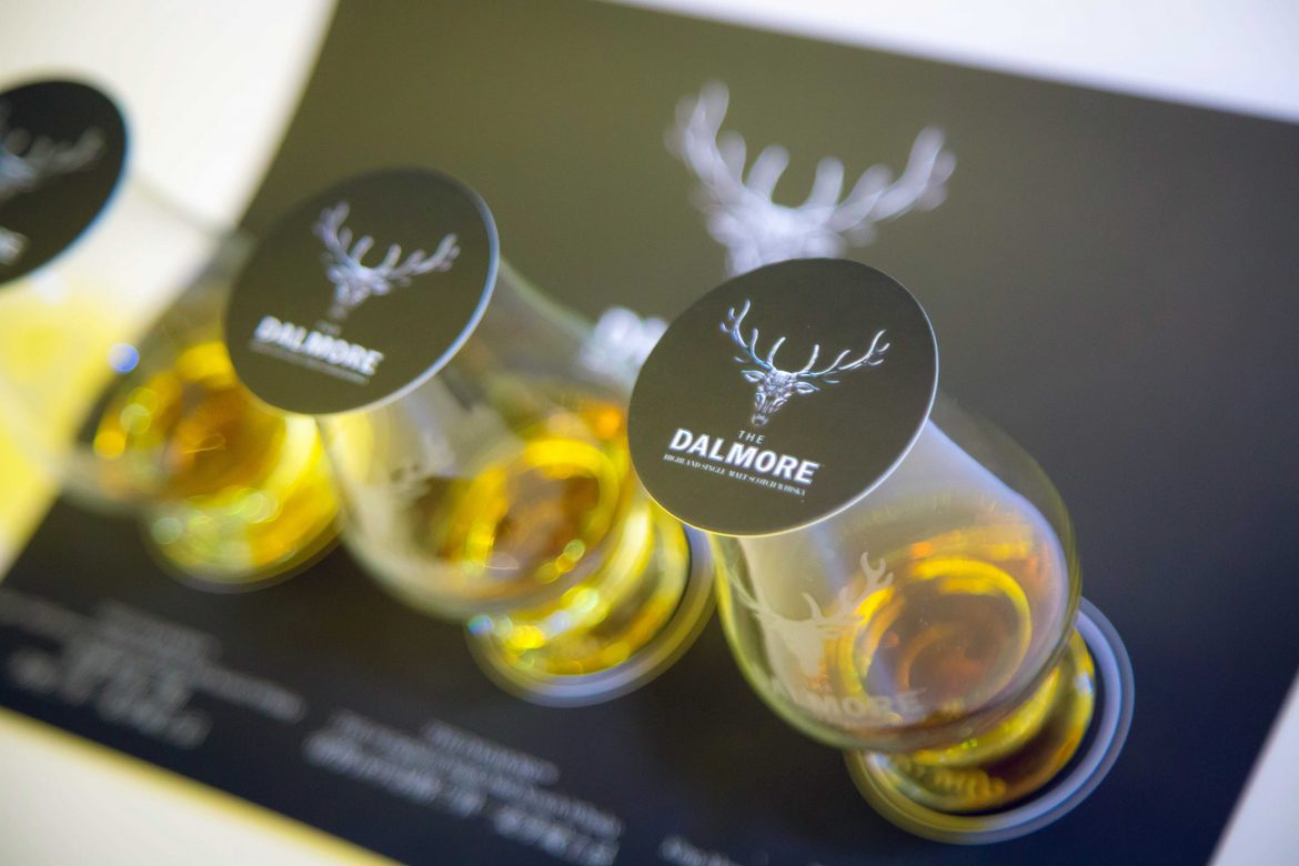 A selection of DALMORE whiskys made available for guests