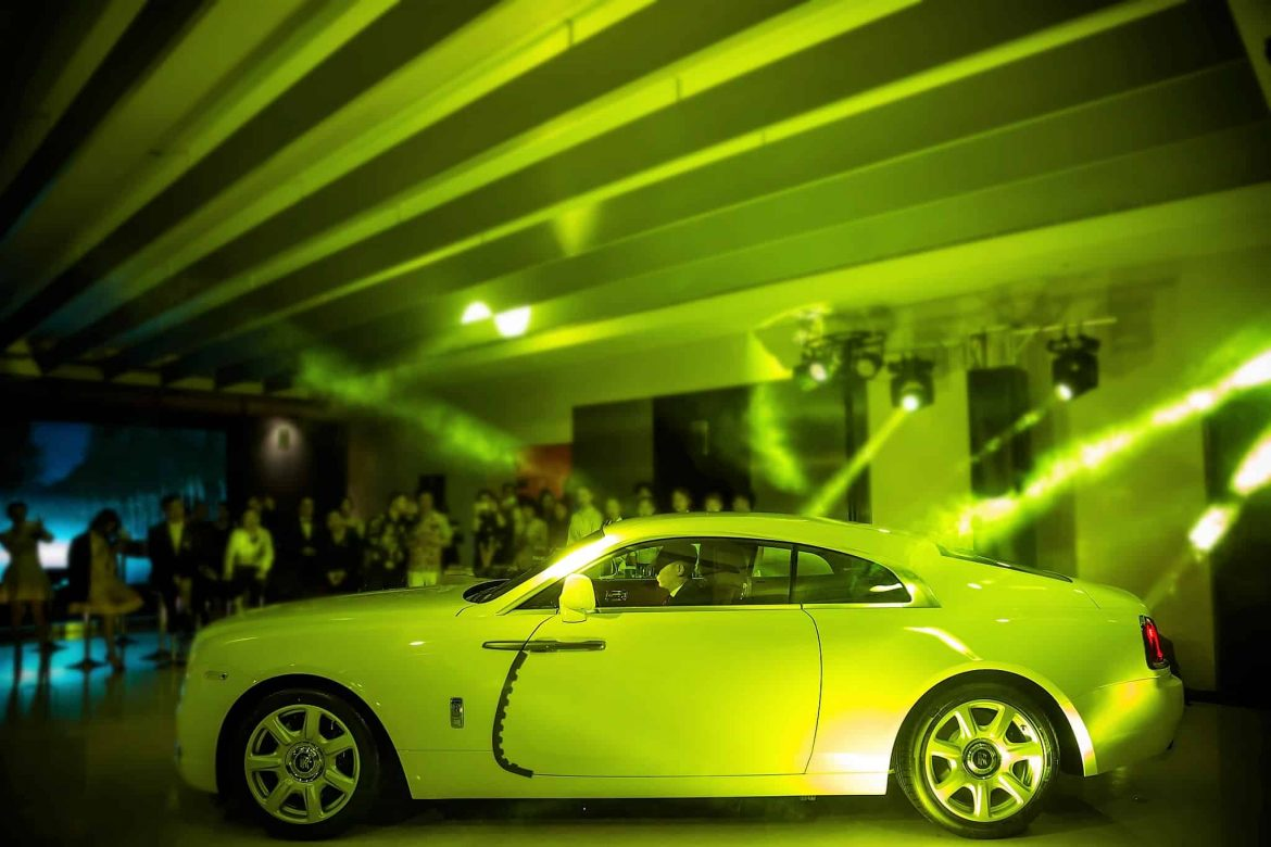 The magnificent Rolls-Royce Wraith made a spectacular entrance and was on display throughout the entire event