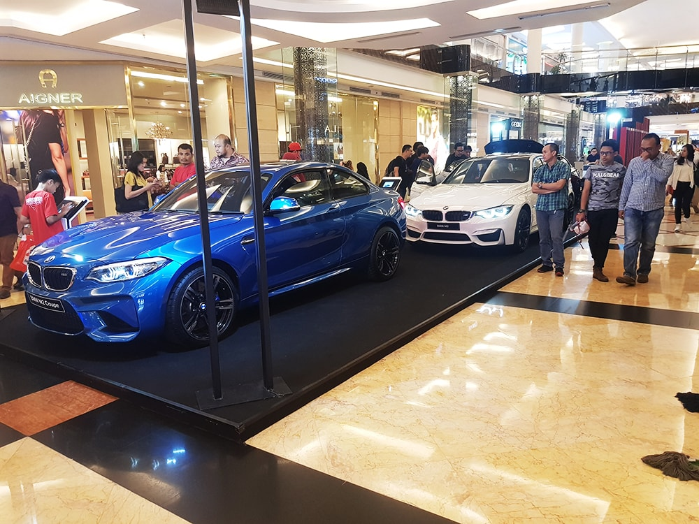Mall visitors up close and personal with the BMW models that were on display during the exhibition