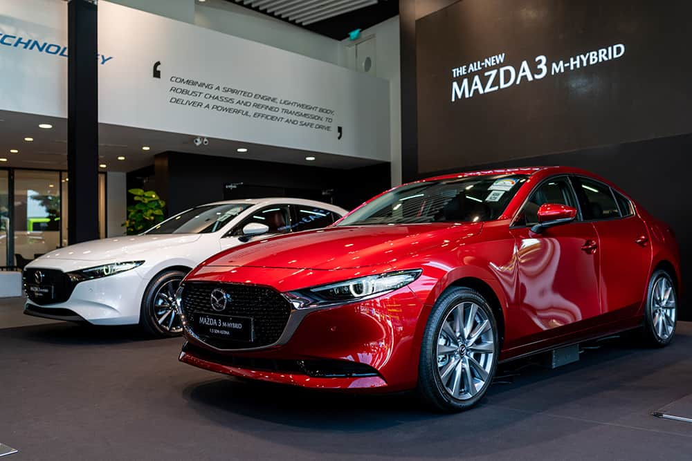 The fully redesigned All-New Mazda3 on display at the Exclusive Media Showcase at 5 Ubi Close in Singapore