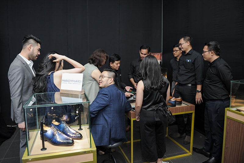 Attendees were able to browse the specially designed Mario Minardi shoe collection