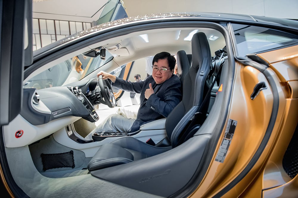 McLaren guest Mr Loo Leong Thye inside the new McLaren GT