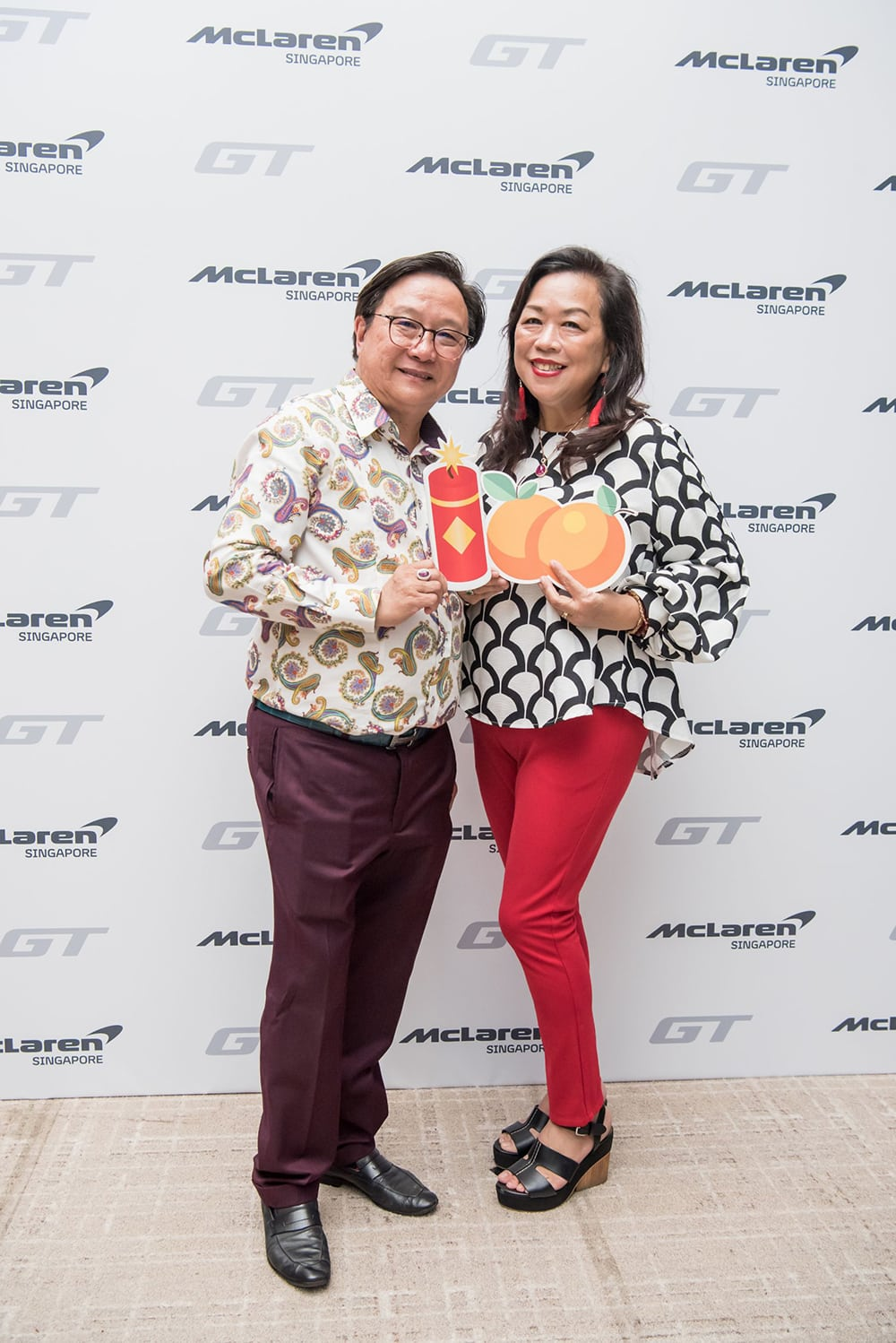 McLaren guests Mr Frankie Choo & Mrs Alice Choo posing for the camera